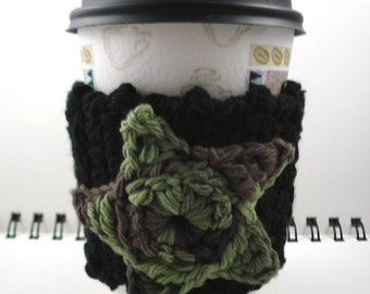 SALE - Black with Camouflage Star Crocheted Coffee Cozy (SWG-B05)