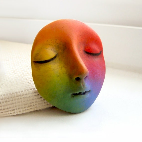 Rainbow Dream Goddess Art Doll Face Cab Bright Colorful Polymer Clay Cabochon Woman roygbiv Blue Purple Red Orange Yellow Green 2674
