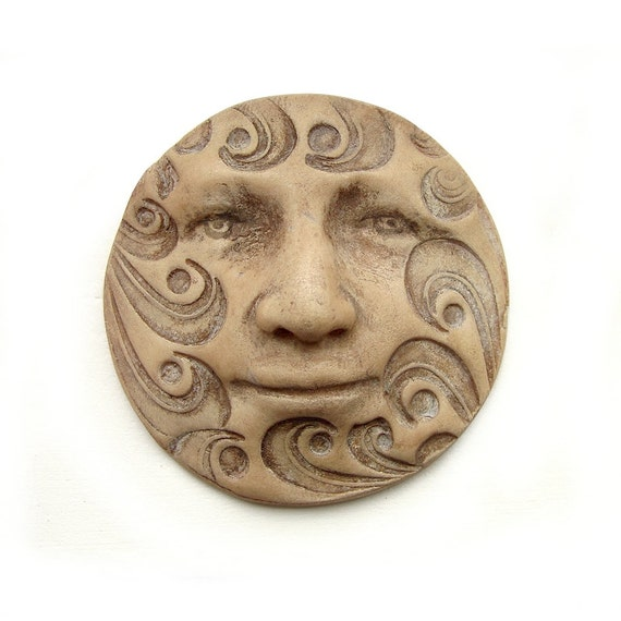 Faux Bone Carved Waves Round 40mm Art Doll Face Cab Parts Beige Ivory Oatmeal Cream Buff Sepia Tan Polymer Clay Cabochon 2696