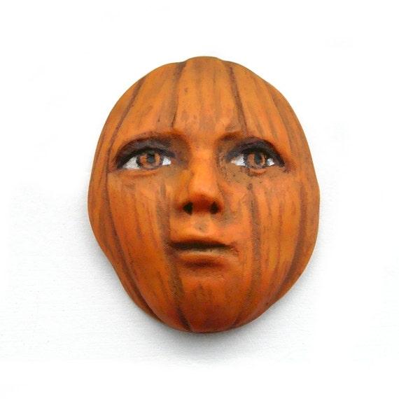 Pretty Pumpkin Lady Art Face Cab Halloween Jack O Lantern Goddess Doll Harvest Fall 2708 polymer clay