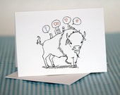 Buffalo and birds Blank Greeting Card