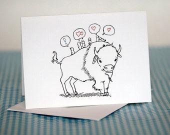 Buffalo and birds Blank Greeting Card
