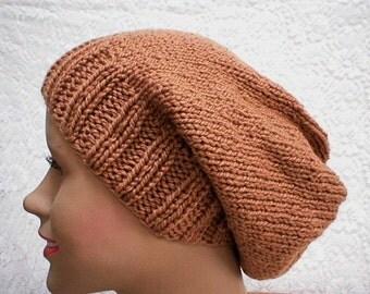 Camel brown slouchy hat, knit toque, slouchy beanie, winter hat, brown hat, ski snowboard skateboard, hiker runner biker, mens womens hat