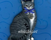 Handpainted Gray and White Tiger Cat Christmas Ornament