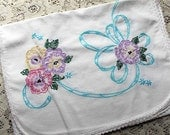 CLEARANCE Pansy Dresser Scarf, Vintage Cotton, Embroidery Ribbons