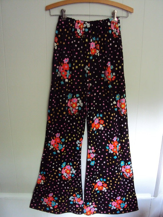 Vintage 70s Black Neon floral Bell Bottom Pants