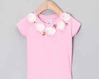 Custom Boutique Pageant wholesale The Pink Fia Shirt with Tulle Roses