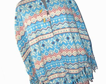 Winter Lodge, Ski Resort Poncho, Autumn/Fall Fleece Cape, One Size Fits Most