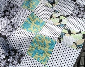 SALE - Dots and Flowers, bold turquoise and lime handmade patchwork quilt