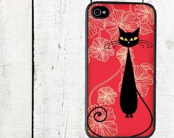 iphone 6 case Retro Cat iPhone 4 Case, Black Cat iPhone 4 4s Case - iPhone 5 Case - Galaxy s3 s4 s5