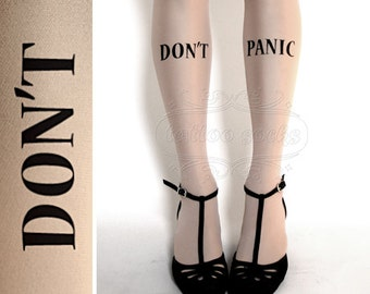 Don't Panic TATTOO gorgeous thigh-high stockings Ultra Pale