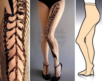S/M Fish Bone tattoo tights / stockings/ full length / pantyhose / nylons ultra pale