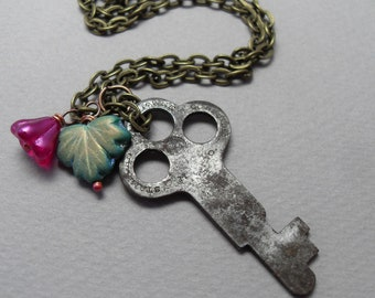 Antique Skeleton Key Pink Rose Flower and Green Leaf Necklace