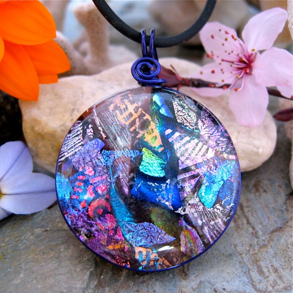 SPECTACULAR Dichroic Pendant , Dichroic Fused Glass Pendant, Purple Round Multilayer