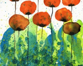 Watercolor Painting: Watercolor Flower Painting -- Art Print --  Slurp -- Orange Flowers -- 11x14