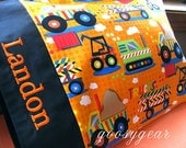 Personalized Toddler Pillow - Construction Zone