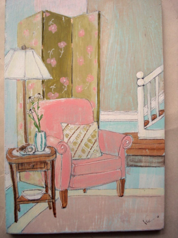 small art painting of pink chair