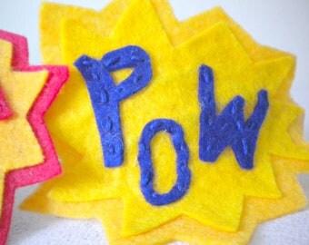 POW - Interchangeable Felt Comic Blast Headband in Lemon Zest Yellow and Navy Blue