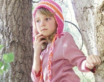 Crochet Aviator Hat with Braids for Baby / Little Girl / Teenager / Woman - Beanie in Cabaret Pink and Tangerine Tango with Stripes