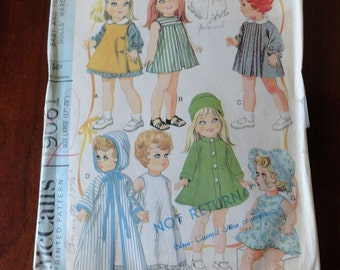Vintage 60s McCalls 9061 Baby and Toddler Dolls Wardrobe sz Large 17 to 20 inch dolls