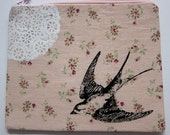 Pouch Wallet Bird Swallow and Lace on Floral Peachy Linen