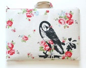 Laptop Bag Laptop Case Owl on  Floral Print Linen