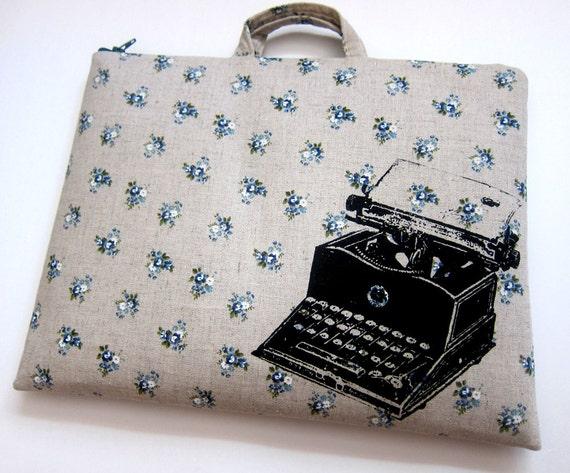iPad Case Typewriter on Blue Floral Linen