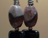 Red picture jasper, black onyx earrings, sterling silver accent beads and ear wires