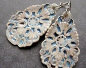 Porcelain Earrings - Large Frida Earrings in Blue Ivory