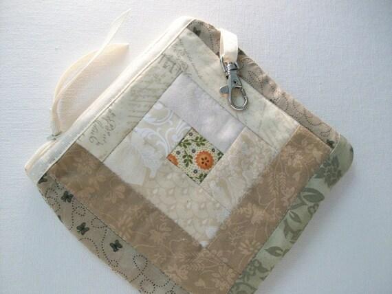 Quilted Little Case, Log Cabin Patchwork Quilt Block, beige, cream, tan, gray, pumpkin orange 3, zipper pouch