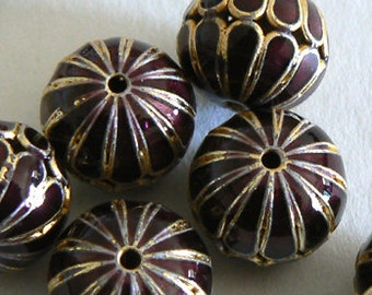 SALE 6 14mm Handmade Cloisonne Beads Ball Round Large Hole Light Weight Purple Gold b2827