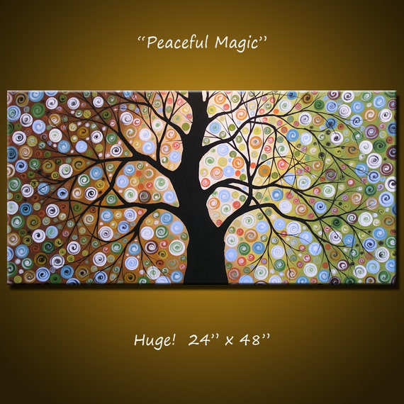 Landscape Original Abstract Painting Modern Contemporary Trees ... 48 x 24 .. Peaceful Magic, by Amy Giacomelli