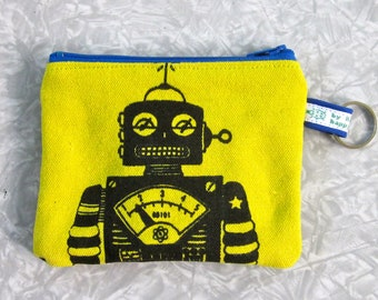 Robot Change Purse in Neon Yellow / Citron with Blue Zipper