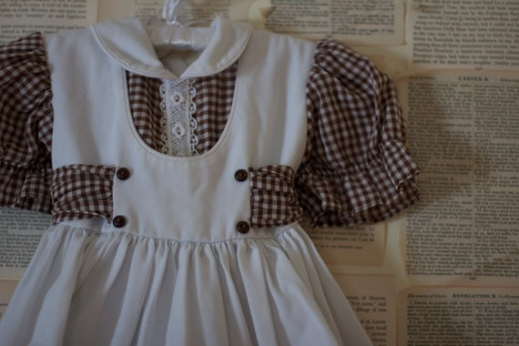 Vintage Gingham Baby Dress - Retro Brown and White Girls Romper - Kids Clothes Clothing - 1960's 1st Birthday Dress Outfit - Baby Shower