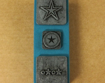 """1/2"""" Stars Ornamental Stamps by Melody Ross / Set of 3 / Use On Chipboard And Leather"""