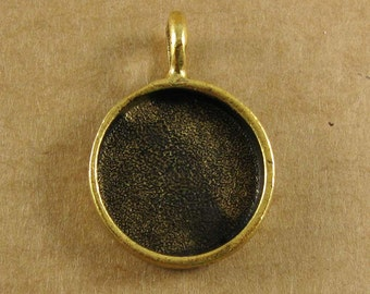 Small Circle Bezel Frame Tray Antique Gold Finish for Pendants