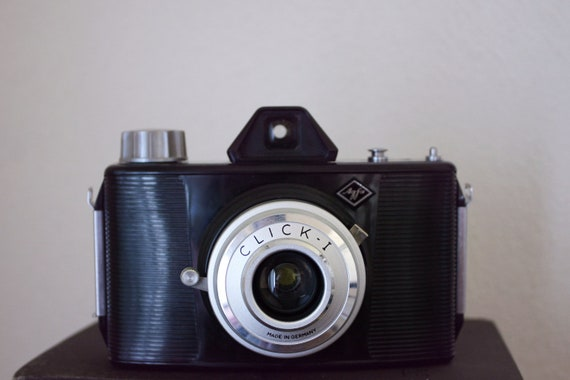 Vintage Agfa Click 1 with Clibo flash and case. Film Camera.