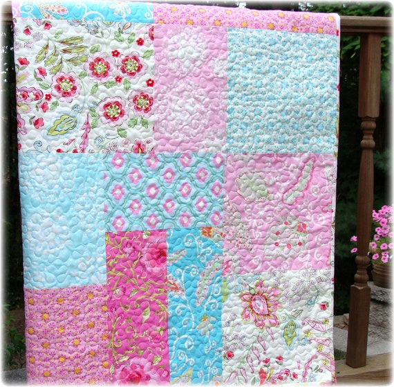 Pretty Little Things Modern Big Block Baby Girl Quilt