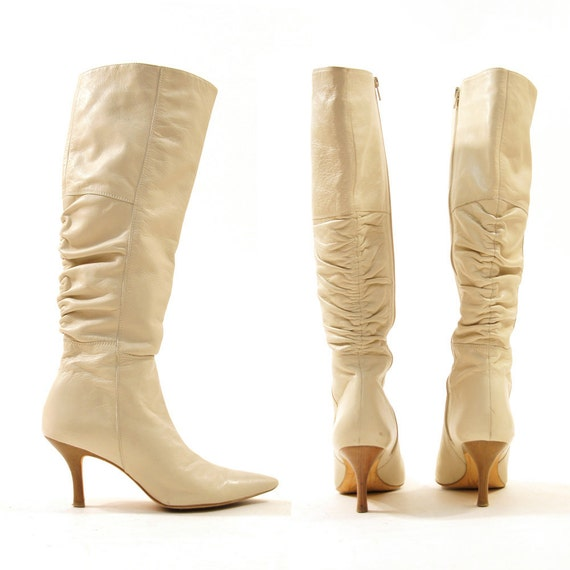 Creme Leather Knee High Leather Boots / Corso Como / Zip Up / Women's sz 6.5 or 7