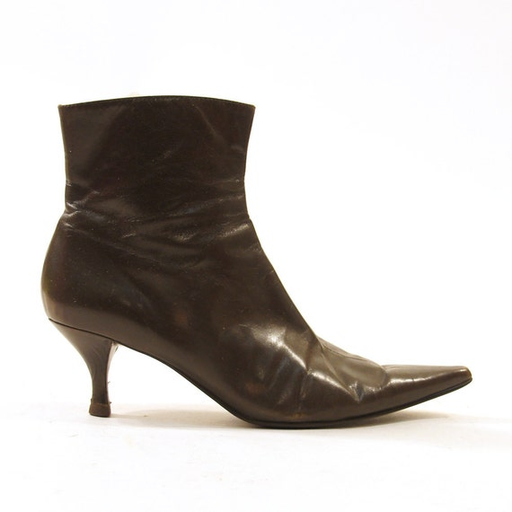 90s beatle boots chocolate brown leather zip up ankle