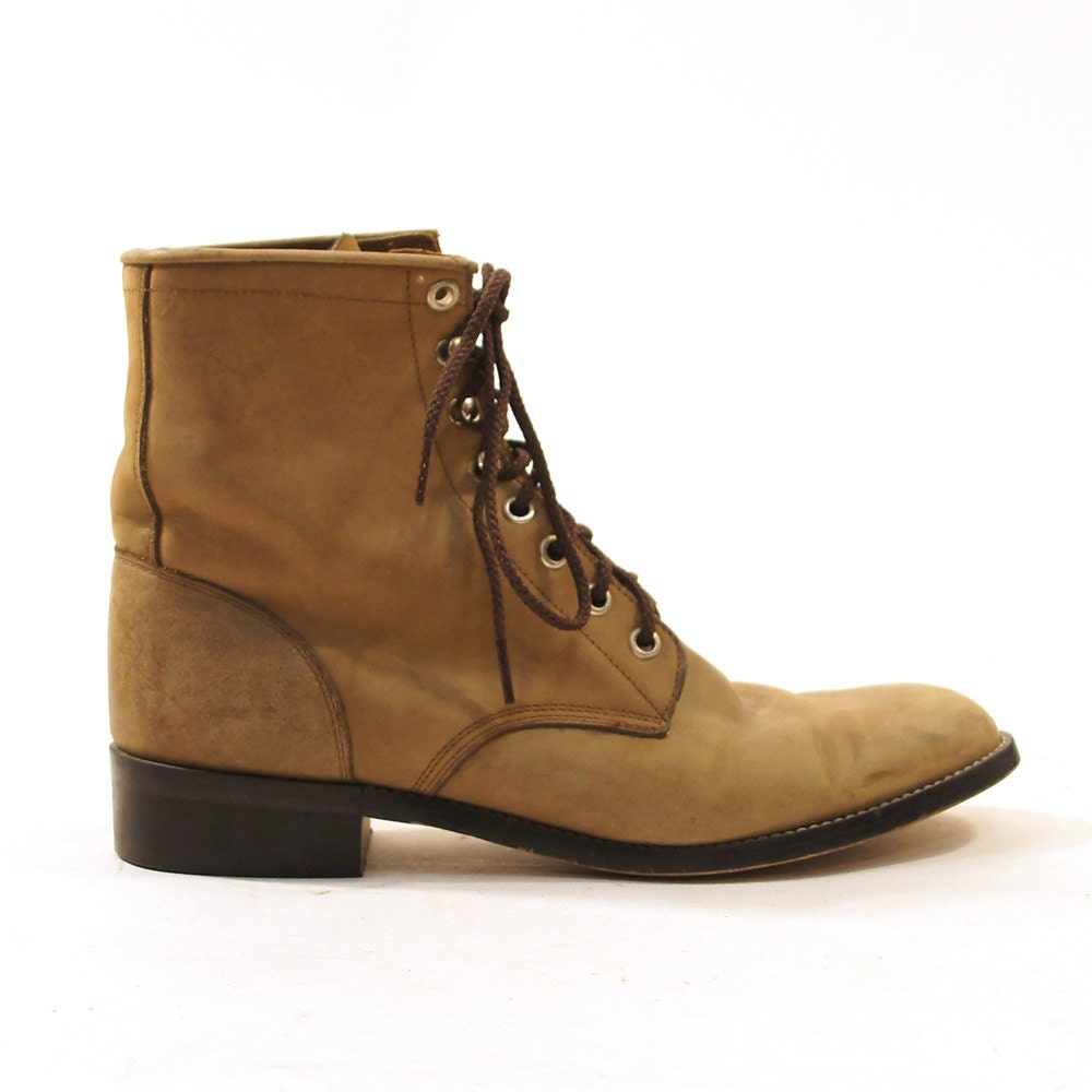 justin lace up ankle roper packer boots in brown leather