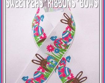 "SALE SPRB 7/8""  Bright Fun Easter Bunnies-Bunny  Eggs Grosgrain Ribbon-5 yards-Pink-Green-Blue"