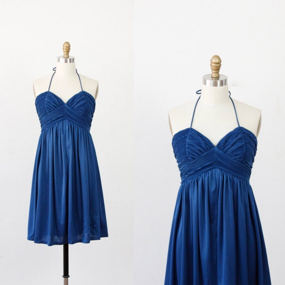 Blue Halter with Sweetheart Pleated Bodice