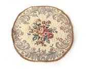 1960s Tapestry Doily Quilted Fabric Pink Roses Beige