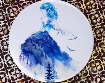 Jazz - Pocket Mirror mountain blue dress woman purse bag personal watercolor painting Canada Vancouver Oladesign