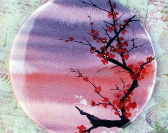 Memory's Legacy - Pocket Mirror cherry blossom purple woman purse bag personal watercolor painting Canada Vancouver Oladesign