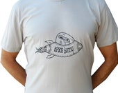 Space Bunny--Men's Graphic Tee-Hand Screen Printed Cotton-Silver