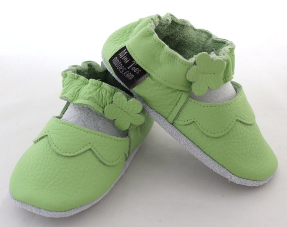 Soft sole leather BABY shoes Green Mary Janes pick your size