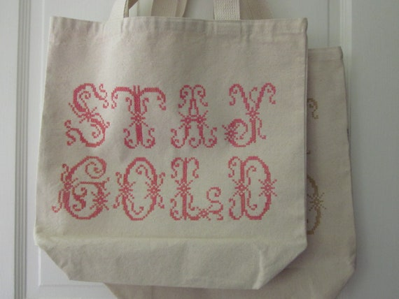LAST ONE - stay gold large screenprinted tote that you can stitch on top of (or not) floss and needle are included