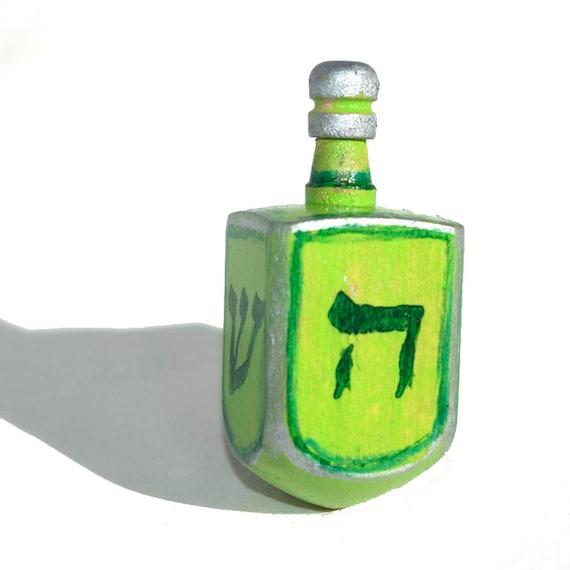 Green Dreidel for Hanukkah - Green and Silver Dreidel, Judaica, Jewish Gift, Hanukkah, Sevivon, Dreidle by Claudine Intner